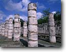 Stock photo. Caption: Mayan Toltec style Thousand Columns Group Chichen Itza near Piste Yucatan,  Mexico -- Keywords: international travel travels traveling Mexican north america ancient history historical tropical ruin temple classic period winter december national park civilizations strength tourist archeological enduring column building mysterious landmarks latin