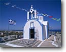 Stock photo. Caption: One of many churches in Fira   on Santorini Island   in the Cyclades Greece -- international travel destination  europe destinations vacation greek aegean sea islands worship historic history  religion religious cross crosses  spiritual holy church churches places flags flag
