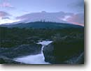 Stock photo. Caption: Petrohue River and moon over Osorno Volcano Vicente Perez Rosales National Park Andes Mountains,  Chile South America -- travel destination destinations attraction attractions tourist  international parks rivers volcanoes volcanos snow capped volcanic cone shape shaped conical runoff moons South America latin landmarks landmark