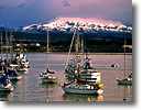 Stock photo. Caption: Winter snowstorm Monterey Bay Monterey County California --   harbors mountains commercial fishing boat vessels vessels harbour harbours quaint united states america summer town towns docks dock wharfs morning light sailboat sailboats bays rare snowstorms foothills snow capped peak peaks