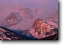 Stock photo. Caption: Dawn on the Continental Divide Rocky Mountain National Park Rocky Mountains Colorado -- Keywords: united states america mountains  mountain ranges spring winter alpenglow parks landscape landscapes majestic tourist travel destination destinations  peak peaks rockies misty snow capped scenic scenics soft majesty altitude