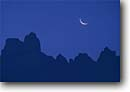Stock photo. Caption: New moon over the Crestones Chirripo National Park South Central Highlands San Jose Province, Costa Rica -- central america tropical destination destinations travel tourist ecotourism parks moons crescent silhouette silhouettes jagged mountains mountain outline highland mountain mountains landscape landscapes latin american scenic scenics artistic nature sureal