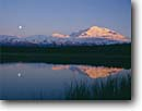 Stock photo. Caption: Moonrise over pond near Wonder Lake Denali National Park Alaskan Range Alaska -- united states america mountains ponds mountain alaskan range summer evening light mount parks tundra arctic landscape landscapes reflection reflections majestic tourist destination destinations moon moons mckinley alpine sunny clear sky skies