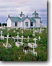 Stock photo. Caption: Transfiguration Church (Russian Orthodox Church) Kenai Peninsula Ninilchik, Alaska -- churches grave graves crosses cross religion united states america cemetery cemeteries worship place places christain christianity dome domes spire spires cupola cupola architecture religious alaskan building buildings summer