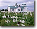 Stock photo. Caption: Transfiguration of our Lord Church (Russian Orthodox Church) Ninilchik Kenai Peninsula,  Alaska -- churches grave graves crosses cross religion united states america cemetery cemeteries worship place places christain christianity dome domes spire spires cupola cupola architecture religious building buildings summer