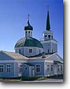 Stock photo. Caption: Saint Michaels Cathedral Sitka Southeast Alaska -- churches crosses cross religion united states america worship place places christain christianity alaskan russian influence orthodox religious site sites summer building buildings onion dome domes inspiration inspirational