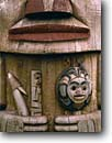 Stock photo. Caption: Totem pole Sitka National Historical Park Baranof Island Southeast Alaska -- pole native america southeast carve carving tree trees foggy misty fog indian arts majestic artistic detail mist spiritual northwest mystical history historical united states american family icon icons beliefs belief animal motif summer alaskan details