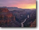 Stock photo. Caption: Colorado River at sunset from Toroweap Overlook Grand Canyon National Park Colorado Plateau, Arizona -- rivers plateaus canyons overlooks sunsets redwall limestone parks united states southwest southwestern country clouds united states america world heritage site sites landscape landscapes tourist destination destinations red rock country geology vastness