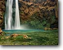 Stock photo. Caption: Mooney Falls Havasu Canyon Hualapai Indian Reservation Colorado Plateau, Arizona -- united states america creek waterfall waterfalls sandstone red rock travertines redwall limestone canyons reservations terrace terraces southwest southwesten landscape landscapes wisdom spring red rock country plunge plunges pool pools
