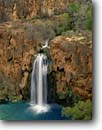 Stock photo. Caption: Havasu Falls Havasu Canyon Havasupai Indian Reservation Colorado Plateau,  Arizona -- united states america creek waterfall waterfalls sandstone rock travertines limestone canyons reservations tree trees country backcountry spring terrace purity clarity water waters shangri cascade cascades southwest southwestern  time exposure