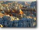 Stock photo. Caption: Coal Canyon Navajo Indian Reservation Colorado Plateau Arizona -- rocks balance sunrise sunrises fall autumn balance erosion eroded wind hot arid weathered weathering landscape landscapes plateaus desert deserts united states america southwest southwestern hoodoos plateaus geologic layers geology