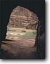 Stock photo. Caption: Navajo hogan White House Ruin Trail Canyon de Chelly National Monument Colorado Plateau,  Arizona -- indian hogans parks alcove alcoves united states america native american americans spring window peek trails tunnel tunnels dwelling dwellings subsistance farming traditional home homes houses house