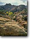 Stock photo. Caption: Fremont cottonwoods Granite Dells   near Prescott Arizona -- canyon country butte fall autumn cottonwood rocky tranquil peaceful southwest southwestern united states america landscape landscapes jumbled rocks granitic formation formations erosion eroded Populus fremontii scenic scenics landmark landmarks