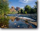 Stock photo. Caption: Oak Creek and Cathedral Rocks Red Rock Crossing Coconino National Forest Colorado Plateau, Arizona -- united states america landscape landscapes clear scenic scenics scene canyons country parks landmark landmarks classic views view iconic spring water rivers creeks plateaus rock deserts attraction attractions destination destinations
