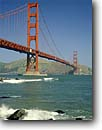 Stock photo. Caption: Golden Gate Bridge Fort Point National Historical Site San Francisco Bay San Francisco,  California -- united states seascape seascapes areas west pacific ocean highway travel destination vacation bridges strength symbol beaches waves surf sandy icon motion suspension tourist destinations city scenic sunny blue skies clear landmark landmarks scene