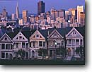 Stock photo. Caption: Victorians at Alamo Square   and downtown skyline San Francisco California -- city cityscapes buildings historic places historical area building skyscraper victorian skyscrapers urban contrast united states america tourist travel destination destinations urban landmark landmarks houses attraction attractions house county skylines