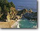 Stock photo. Caption: McWay Falls in McWay Cove Julia Pfeiffer Burns State Park Big Sur Coast Monterey County,  California -- seascape seascapes united states america ocean oceans seastacks  pacific west coast coasts parks shoreline shorelines headlands headland coastal landscape landscapes shore beaches sandy sand beach secluded waterfall waterfalls