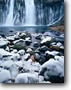 Stock photo. Caption: Hat Creek,  Burney Falls McArthur-Burney Falls  State Park Cascade Range, California -- waterfall waterfalls winter ice frozen freezing parks creek creeks united states america ranges cold icey icy tourist travel destination destinations attraction attractions springs frigid