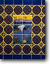 Stock photo. Caption: Catalina Clay Products mosaic Aviary,  Avalon Santa Catalina Island California --   tile tiles nostalgia nostalgic united states america painted signs historic mosaics art deco southern