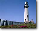 Stock photo. Caption: Pigeon Point Lighthouse San Mateo County coastline California -- Keywords: landscape landscapes coasts west pacific coastlines summer seascape seascapes ocean oceans sunny blue skies clear scenics scenic lighthouses station light house building tower fence towering flowers white lots landmark landmarks attraction attractions