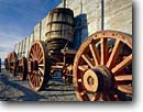 Stock photo. Caption: Borax wagons,  Harmony Borax Works Death Valley Death Valley National Park Mojave Desert, California -- united states america landscape landscapes clear scenic scenics scene  parks deserts industry attraction attractions destination mohave destinations wagon wheels wheel wooden landmark landmarks barrel barrels exhibit tourist travel exhibits spring