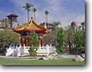 Stock photo. Caption: Pagoda    and the Mission Inn Riverside California -- Pagodas chinese spring cityscape cityscapes tradition traditional ethnic united states america southern historical historic preserved preservation restored building buildings sunny blue skies clear ornate landmark landmarks famous hotels structures