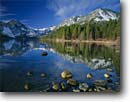Stock photo. Caption: Crystal Range   and Emerald Bay Emerald Bay State Park Lake Tahoe Sierra Nevada, California -- lakes maggies phipps peaks united states america reflection spring peaks tranquil calm landscape landscapes placid mountains reflections summer spring calm