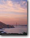 Stock photo. Caption: Golden Gate Bridge   from Marin County Headlands Golden Gate National Recreation Area, California -- San Francisco Areas sunset sunsets bridges suspension span city cities travel tourist destination destinations pacific coast seascape seascapes coastline united states  icon icons american strength symbol cityscape buildings building landmarks cityscapes