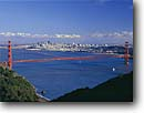 Stock photo. Caption: Golden Gate Bridge   and San Francisco Bay Golden Gate National Recreation Area Marin County,  California -- city cityscapes cityscape areas urban  united states travel tourist destination destinations landmark landmarks recreation bridges suspension skyline skylines icon icons attraction attractions highway highways symbols symbol bays spring sunny blue skies