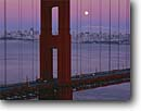 Stock photo. Caption: Moonrise, Golden Gate Bridge   and San Francisco Bay Golden Gate National Recreation Area Marin County,  California -- city cityscapes cityscape areas urban united states travel tourist destination destinations landmark landmarks recreation bridges suspension skyline skylines icon icons attraction attractions highway highways symbols symbol bays full moon moons rising