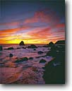 Stock photo. Caption: North Beach at sunset Slide Ranch Golden Gate National Recreation Area Marin County,  California -- united states america landscape landscapes coast coasts west pacific coastline coastlines shoreline shorelines waves surf rocky headlands headland rock cliffs areas rugged bluffs seascape seascapes wave ocean oceans crashing sunsets seastack seastacks