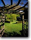 Stock photo. Caption: Arbor Green Gulch Garden Muir Beach Marin County,  California -- west pacific gardens structure structures building buildings landscape landscapes sunny clear skies hedge hedges inviting walkway walkways spring