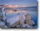 Stock photo. Caption: Mono Lake and Sierra Nevada South Mono Lake Tufa Area Mono Basin Nat. Forest Scenic Area Sierra Nevada, California -- parks shoreline shorelines mountain united states america landscape landscapes tower towers winter snow clear morning cold calm lakes mountains fresh bitter areas national forests reflection reflections covered dawn scenics scenic eastern sierras