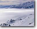 Stock photo. Caption: Pogonip fog over Mono Lake   from Conway Summit Inyo National Forest Sierra Nevada,  California -- united states america mountains america landscape landscapes tourist destination destinations freezing ice fog particles weather unusual phenomena foggy really cold sierras winter