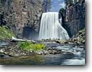 Stock photo. Caption: Rainbow Falls Middle Fork San Joaquin River Devils Postpile National Monument Sierra Nevada, California -- Keywords: waterfall waterfalls parks monuments creek creeks tourist travel destination destinations attraction attractions spring white water flowing plunging interlude power grace powerful strong strength sierras rivers large curtains basalt columnar time exposure