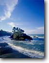 Stock photo. Caption: Sea stack in Buckhorn Cove   south of Little River Mendocino County California -- seascape seascapes united states america pacific power powerful coast coasts north headland headlands crashing cove coves waves surf beach beaches stacks coastline coastlines shore shores shoreline shorelines