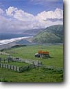 Stock photo. Caption: Mouth of the Mattole River   and Cape Mendocino Kings Range National Conservation Area Humboldt County, California -- landscapes coast west pacific coastline coastlines parks secluded beaches sandy beach ocean oceans coastal remote northern vista view views rivers areas buildings abandoned building ranch ranchland ranches corral corrals seascape seascapes