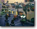Stock photo. Caption: Horton Plaza Centre San Diego San Diego County California -- united states america city cityscapes cityscape center centers modern  downtown downtowns plazas southern building buildings cities  south coastal coast towns town lamps lamp lamplight dusk