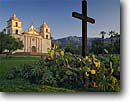 Stock photo. Caption: Mission Santa Barbara   and Santa Ynez Mountains Santa Barbara California -- cross crosses landmarks missions church churches religion religious morning light united states america worship missionary period spanish catholic christian christianity sunny clear plaza plazas historical history pueblo pueblos southern tourist landmark