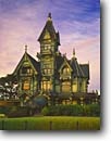 Stock photo. Caption: Carson Mansion Old Town Eureka Humboldt County California -- americana nostalgic nostalgia united states america cloudy historic historical building buildings victorian victorians famous house houses exclusive clubs winter luxury luxurious ornate home homes landmark landmarks lumber baron