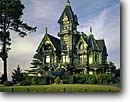 Stock photo. Caption: Carson Mansion Eureka Humboldt County California -- americana nostalgic nostalgia united states america cloudy historic historical building buildings victorian victorians famous house houses exclusive clubs winter luxury luxurious ornate home homes landmark landmarks lumber baron  scenic scenics