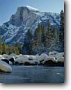 Stock photo. Caption: Merced River and Half Dome Yosemite Valley Yosemite National Park Sierra Nevada,  California -- snow winter rivers parks mountains granite dome domes snowfall united states america spiritual inspiration inspiring cold elegant world heritage site sites landscape landscapes snowfalls snowfall crisp clean luxurious sunny clear skies clear scenic views
