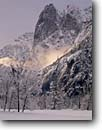Stock photo. Caption: Sentinel Rock Yosemite Valley Yosemite National Park Sierra Nevada,  California -- united states america parks world heritage site sites sierras vista vistas views tourist destination destinations family vacation dome domes El capitan half winter snowy snow famous landmark landmarks landscape landscapes glacially carved valleys