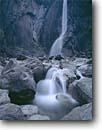 Stock photo. Caption: Lower Yosemite Falls Yosemite Valley Yosemite National Park Sierra Nevada,  California -- united states america parks world heritage site sites sierras tourist destination destinations family vacation attraction attractions granite boulder boulders waterfall waterfalls