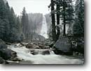 Stock photo. Caption: Merced River and Nevada Falls John Muir Trail Yosemite National Park Sierra Nevada, California -- landscape landscapes west scenics scenic winter parks sierras snow destination destinations attraction attractions waterfall waterfalls landmarks landmark valley rivers cold quiet power powerful world heritage site sites