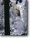 Stock photo. Caption: Vernal Falls Merced River Yosemite National Park Sierra Nevada, California -- landscape landscapes west scenics scenic winter parks sierras snow destination destinations attraction attractions waterfall waterfalls landmarks landmark valley rivers cold quiet power powerful freezing frozen tree trees world heritage site sites