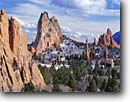 Stock photo. Caption: Cathedral Rock and sandstone pinnacles Garden of the Gods Colorado Springs Colorado Plateau,  Colorado -- Keywords: canyons country sandstone morning erosion eroded sandy united states america desolate remote isolation rockies rocky mountain front range natural features landscape landscapes solitude spire spires uplifted pinnacle