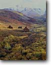 Stock photo. Caption: Old homestead Deep Creek Mesa San Juan Mountains Colorado -- telluride barn barns homesteads americana fall autumn united states america rocky ranch historic historical ranches ranching rural nostalgic nostalgia rocky snow roads rustic building buildings landscapes landscape scenic scenics road fence yesteryear