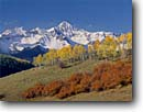 Stock photo. Caption: Aspens, gambel oaks and Mt. Wilson   from Deep Creek Mesa San Miguel Mountains Rocky Mountains, Colorado -- aspen fall peak peaks autumn juan rocky united states america snow capped snowy landscape landscapes dramatic majestic mountain juans scenic scenics sunny clear blue skies crisp colors colours color foliage dramatic vistas grand fresh yellow balanced calm