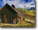 Stock photo. Caption: Barn, aspens and Iron Mountain from Deep Creek Mesa San Juan Mountains, Colorado -- barns homestead homesteads wooden vintage antique country trees rural autumn fall snow blue skies nostalgia nostalgic cloud clouds structure quaint americana rocky aspen america rural rustic building buildings pioneers ranches ranch abandoned classic